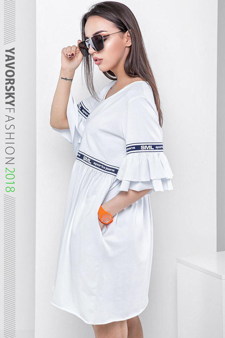 Платье из хлопка 42-44(S), 44-46(M), 46-48(L) цвет белый