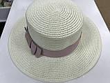 Женская шляпка канотье из соломки цвет молочный с розовым бантом, фото 3