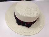 Женская шляпка канотье из соломки цвет молочный с розовым бантом, фото 5