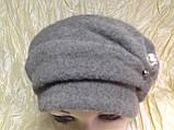 Кашемировая женская шляпка с жемчужиной цвет серый, фото 3