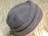 Кашемировая женская шляпка с жемчужиной цвет серый, фото 4