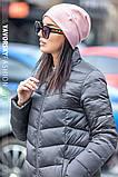 Молодежная шапочка на флисе с украшением цвет пудра, фото 2