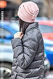 Молодежная шапочка на флисе с украшением цвет пудра, фото 3