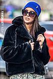 Молодежная шапочка на флисе с украшением цвет пудра, фото 5