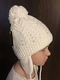 Детская белая шапочка с рисунком бубоном ушками завязками, фото 3