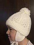 Детская белая шапочка с рисунком бубоном ушками завязками, фото 5