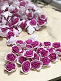Розы из латекса, фиолетовый с фатином (ФОМ, FOAM) 500 шт пачка (для мишек), фото 7