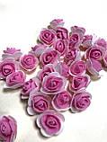 Розы из латекса, фиолетовый с фатином (ФОМ, FOAM) 500 шт пачка (для мишек), фото 8