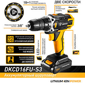 Аккумуляторный шуруповерт DEKO DKCD16FU-S3