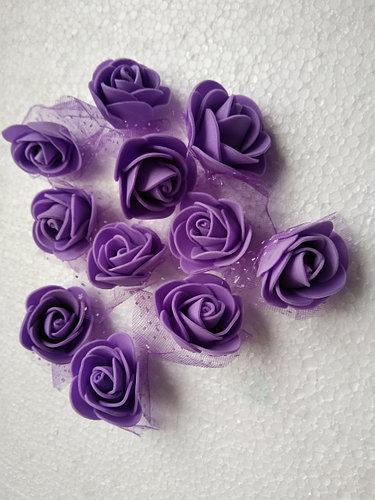 Розы из латекса, фиолетовый с фатином (ФОМ, FOAM) 500 шт пачка (для мишек)