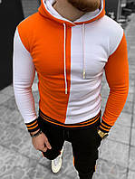 Худи мужские на флисе с капюшоном белый оранжевый