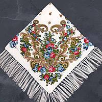 Хустка народна з тороками (120х120) біла