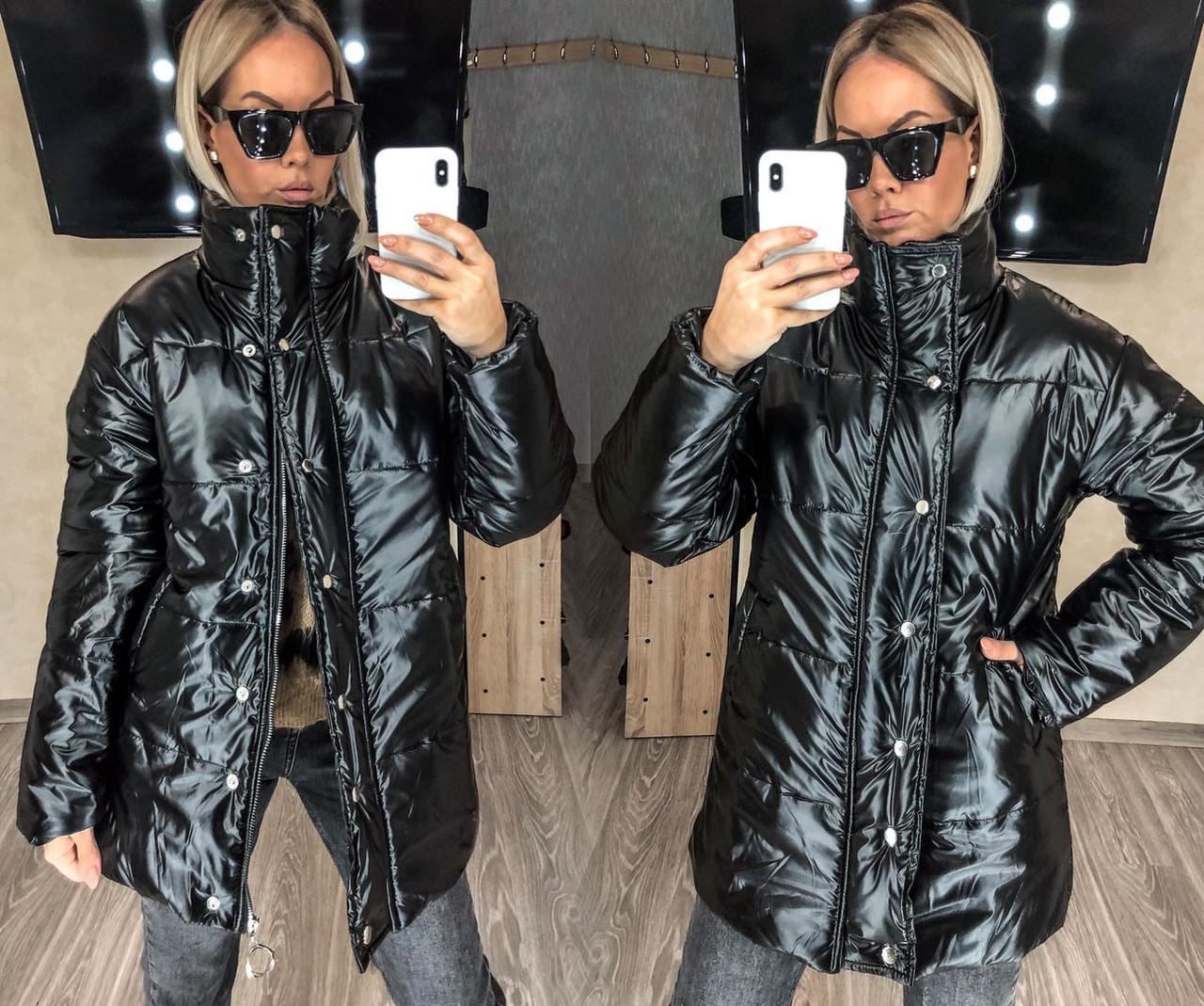 """Женская тёплая куртка до больших размеров """"Плащёвка-Кожа Стойка"""" в расцветках (54-580)"""