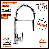 Смеситель латунный для кухонной мойки на кухню с рефлекторным изливом Q-tap Tenso CRM 013F