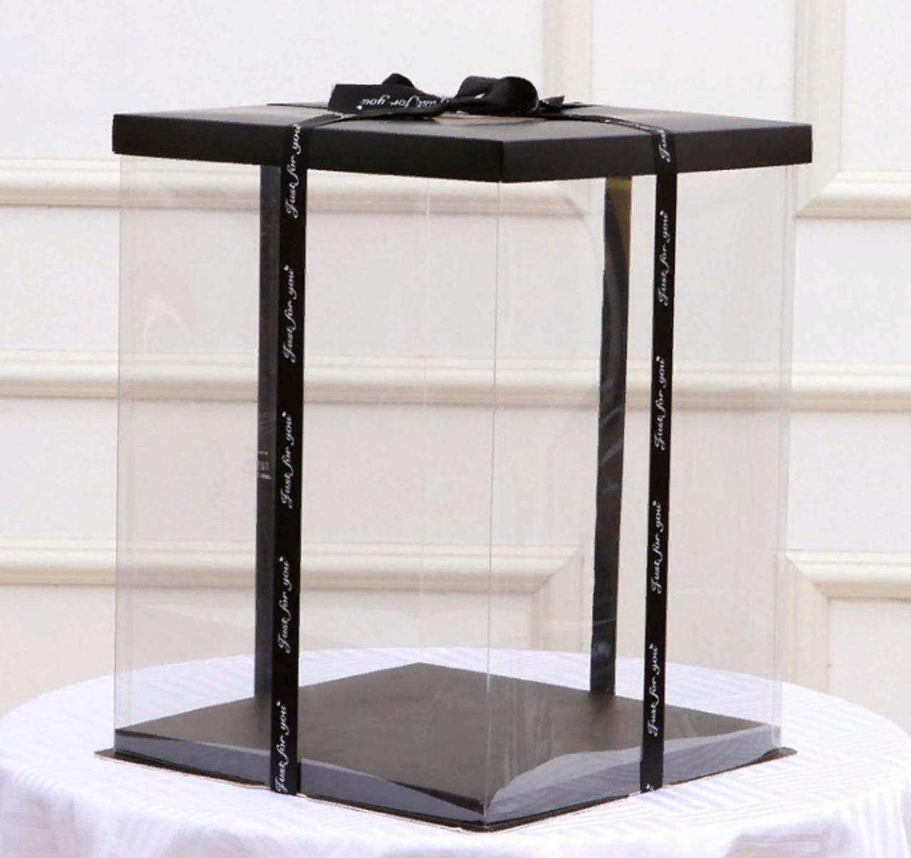 Упаковка, Коробка прозрачная для мишки из роз 40 см (Размер 32х32х41)