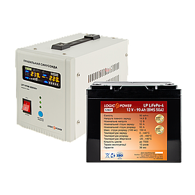 Комплект резервного питания для котла Logicpower 800 + литиевая (LifePo4)  батарея 1300ватт