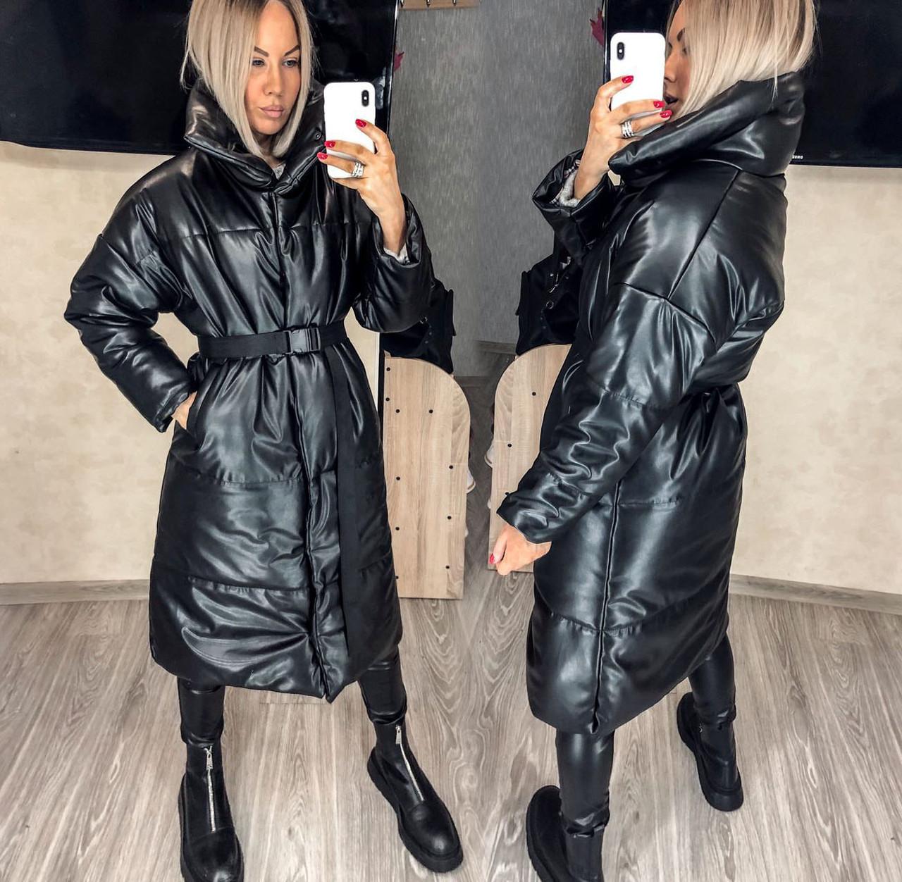 """Женское тёплое пальто до больших размеров """"Кожа Кнопки Ремешок"""" (54-581)"""