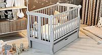 """ТМ Дубик-М """"Капітошка"""" дитяче ліжечко з ящиком. Колір: білий"""