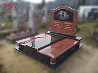 Комбинированый памятник из красного и черного гранитов, фото 1
