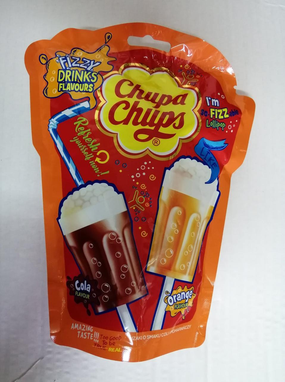 Леденцы Chupa Chups Fizzy эксклюзивная серия в форме коктейлей, 7 шт.