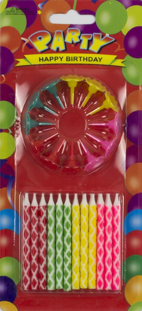 Свічка в торт 24шт+12підсв. (ромб) №E24B/8125/3302/1307(24)(288)(1185)