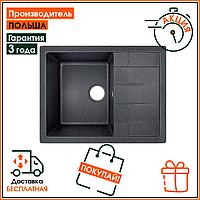 Кухонная мойка прямоугольная из гранитного камня сифон в комплекте Lidz 650 на 500 200 BLA 03