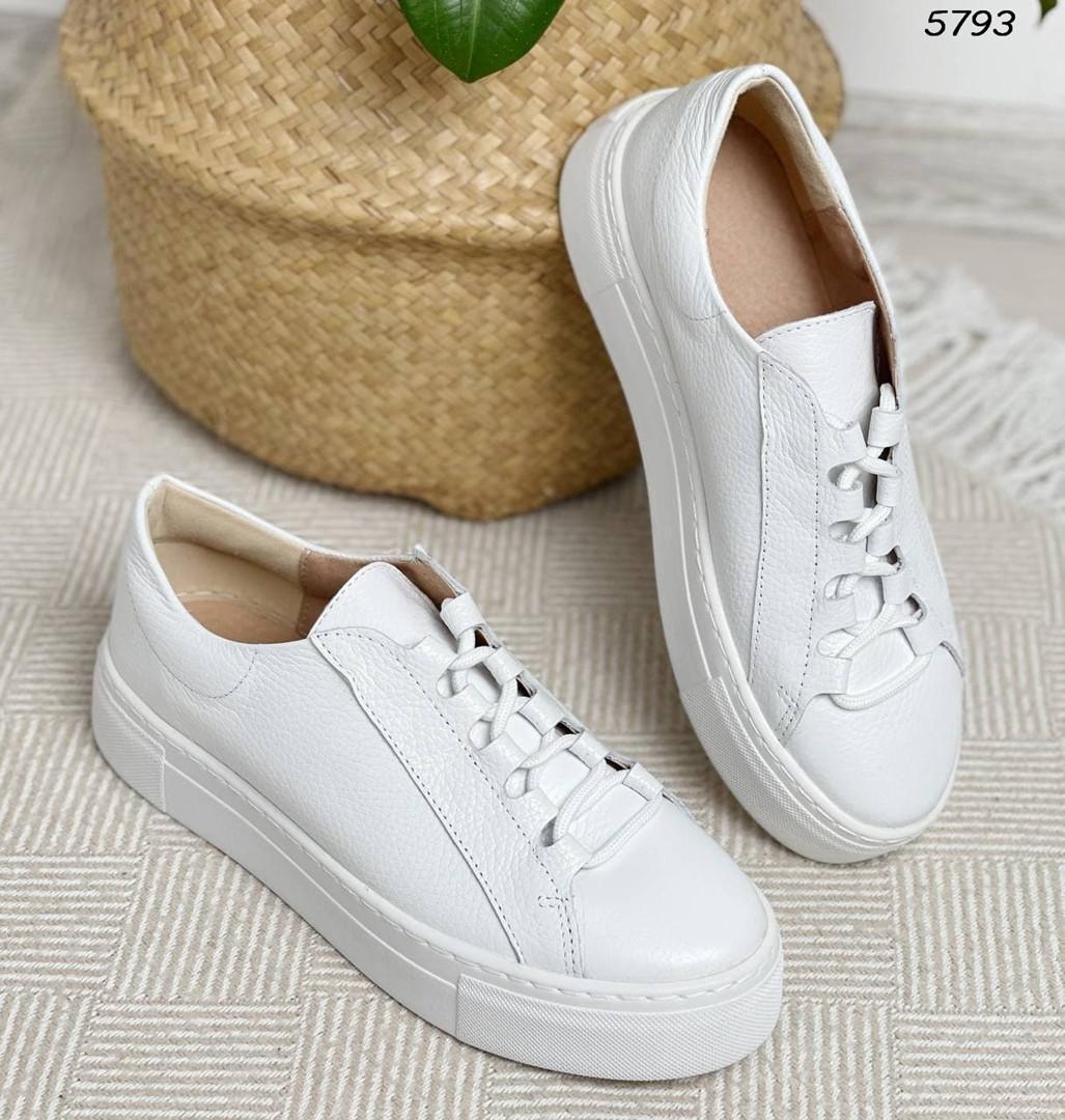 Женские кроссовки белые 5793