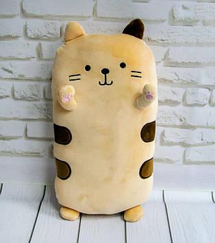 Подушка кот плюшевый, персикового цвета 40х20х14 см, мягкая игрушка кот для сна   подушка кіт для ді