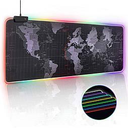 Большой игровой коврик с RGB подсветкой для мыши 40 * 90 см