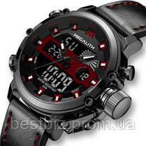 Часы оригинальные мужские наручные кварцевые Megalith 8051M Black-Dark Gray-Red, фото 2