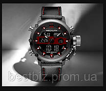 Часы оригинальные мужские наручные кварцевые Megalith 8051M Black-Dark Gray-Red, фото 3