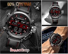 Часы оригинальные мужские наручные кварцевые Megalith 8051M Black-Dark Gray-Red