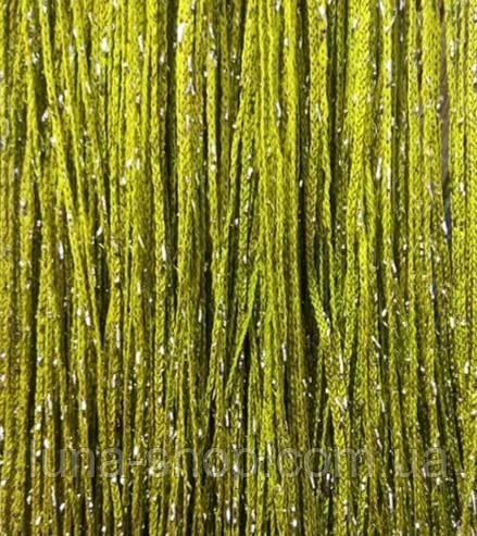 Декоративные шторы-нити (кисея) с люрексом, 3х3 м., оливковые