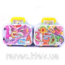 Детский игровой набор доктора 606  стетоскоп, шприц, термометр, ножницы, очки, в чемодане 23*6,0*16см