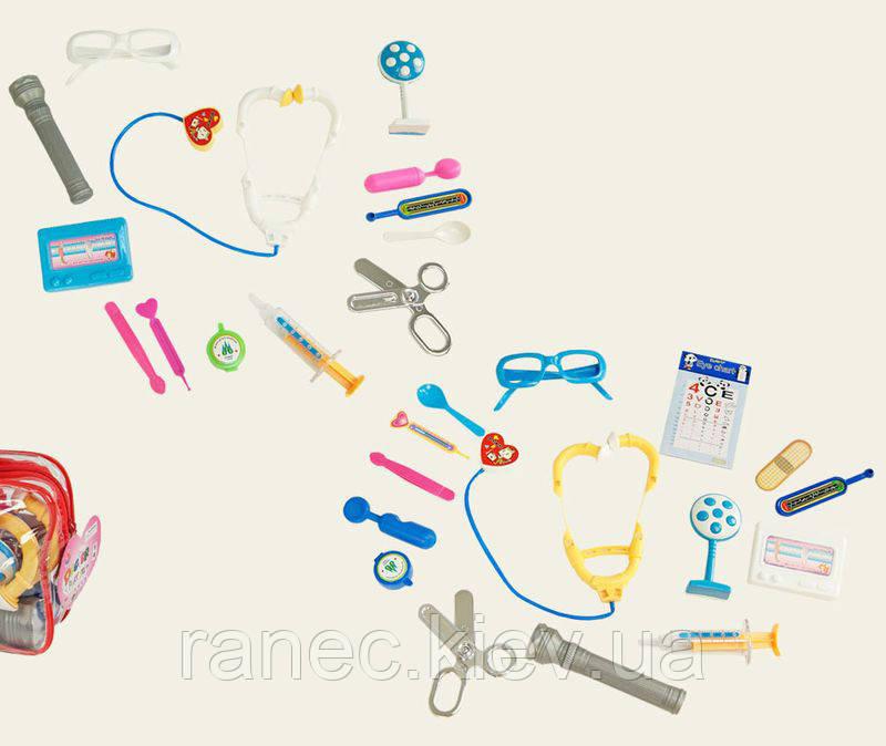Детский игровой набор доктора 3306 (158283)  стетоскоп, ножницы,пинцет, шприц,…в сумке 17*5*12см