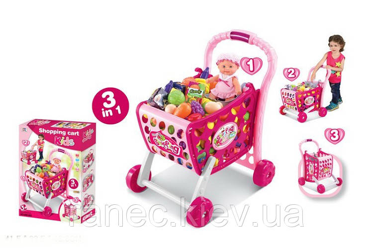 Тележка игрушечная 008-903  с продуктами,пупсом в кор.41,5*33,5*48,8см
