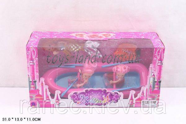 Кукла маленькая 66821 в лодке с веслами, 2 куклы, кукла-русалка,рыбка, в коробке 31*13*11 см.