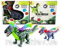 Интерактивное животное KQX-07 Динозавр, 2 цвета,батар.,свет,со звуком,проектор,в коробке 29*26