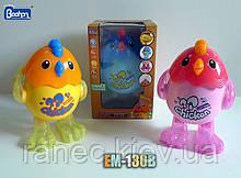 Музыкальная развивающая игрушка Животное EM-130B Цыпленок,3 цвета,свет,звук,в коробке 14*13*21см