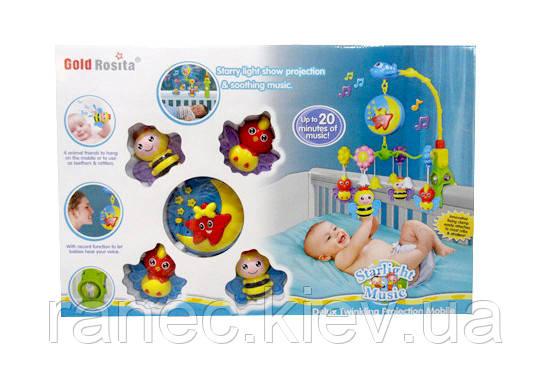 Детская музыкальная подвеска карусель мобиль 8820-1 механическая мягкие игрушки в коробке