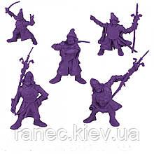 Набір воїнів Дружина Пушкарі без коробки (5 воїнів/ колір фіолетовий), Fantasy