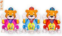 Музыкальная развивающая игрушка медведь BT-2205E  3 цвета звук свет в коробке 14 5*14 5*24 5см