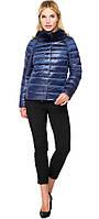 Короткая женская осенне-весенняя куртка сапфировая модель 40267