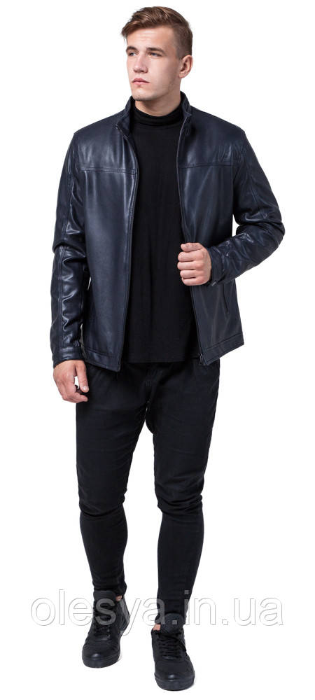 Куртка осенне-весенняя молодежная темно-синяя для мужчин модель 2825