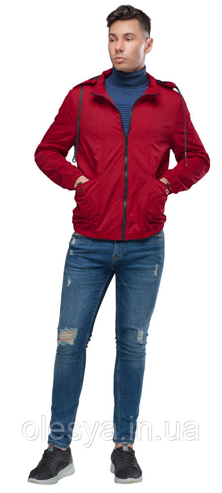 Осенне-весенняя мужская молодежная ветровка красная модель 38399