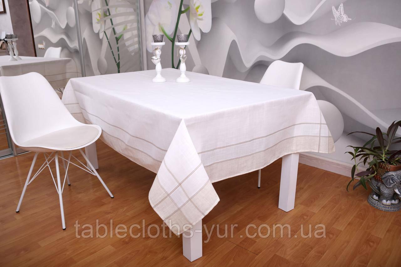Скатерть Лен 100-150 Белая с светлыми краями