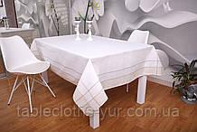 Скатертина Льон 100-150 Біла з світлими краями