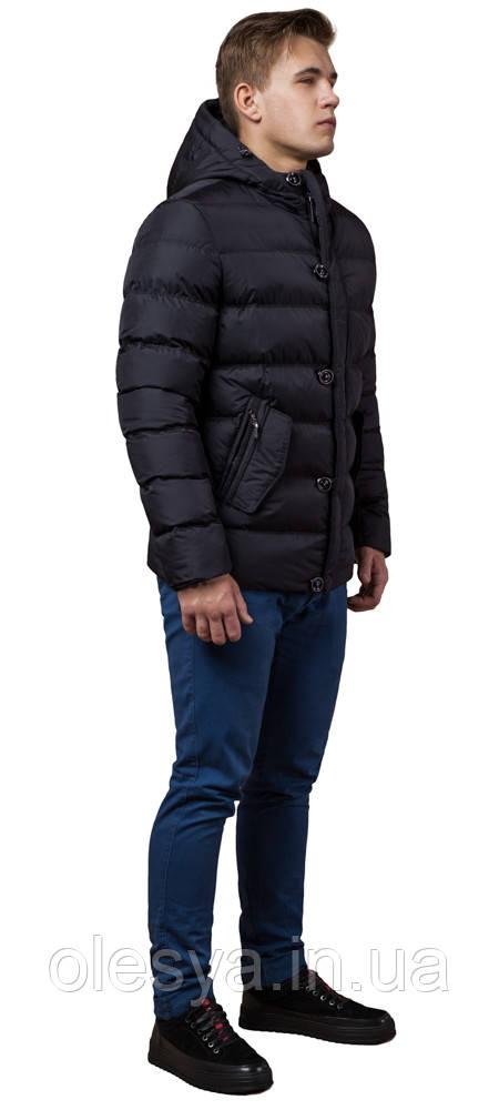 Черная мужская зимняя куртка с ветрозащитной планкой модель 30380