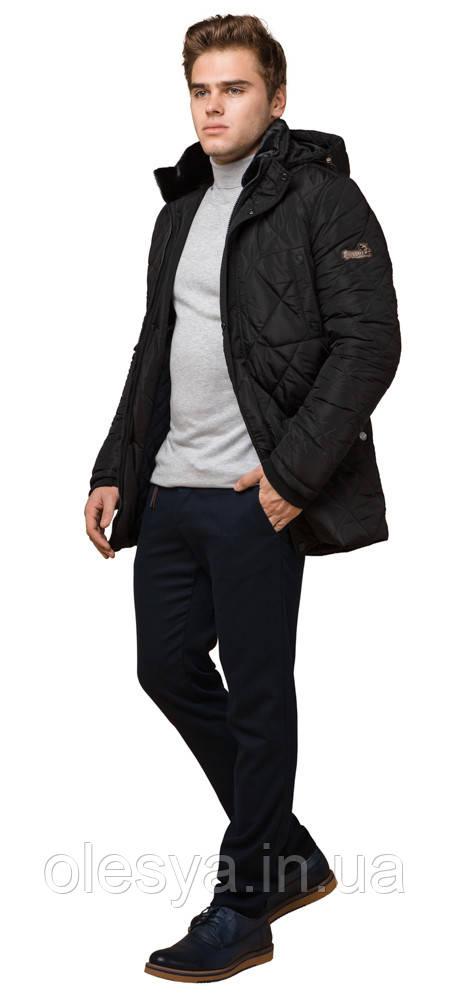 Черная мужская куртка с качественной фурнитурой зимняя модель 44842