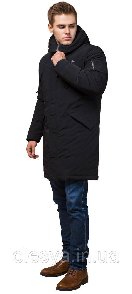 Парка черная зимняя мужская с ветрозащитной планкой модель 23675